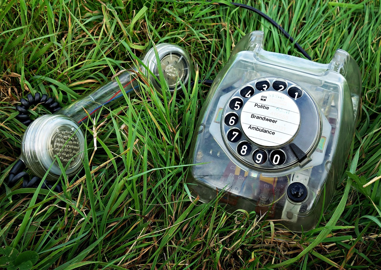 disconnected phone in grass