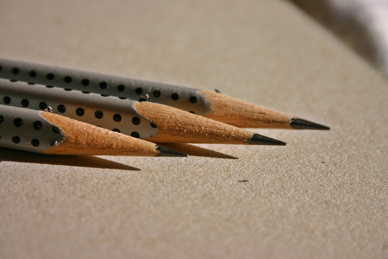 three sharpened pencils