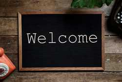 welcome on chalkboard