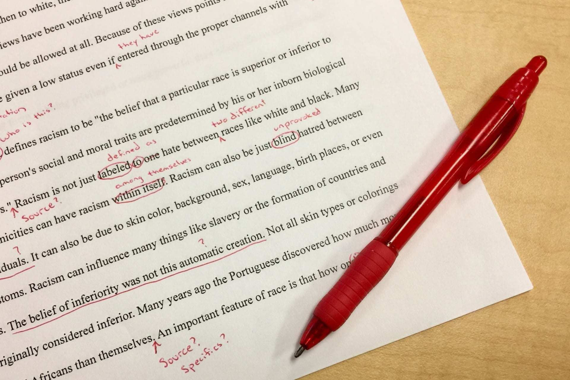 editing with a red pen